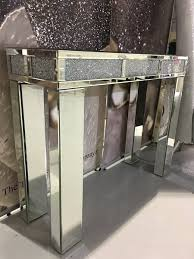 Hallway Table Stunning Mirror Crushed Crystal Crackle Diamond Console Table