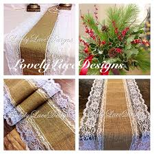 Burlap Lace Table Runner Christmas Decor Burlap Lace Table Runner White Lace 4ft 10ft Long