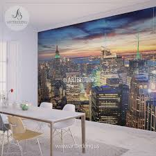 wall murals peel and stick vinyl self adhesive tagged new york cityscape wall mural new york sunset photo sticker new york downtown skyline