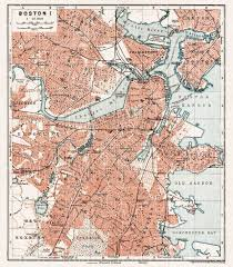 boston city map map of boston in 1909 buy vintage map replica poster print or