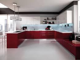 dark red kitchen