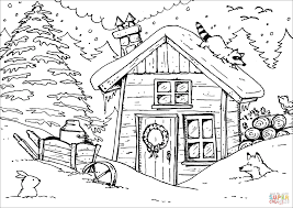 winter hut coloring page free printable coloring pages
