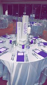 Silver Wedding Centerpieces by Purple U0026 Silver Centerpieces With Custom Logo U0026 Lots Of Bling