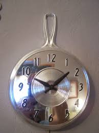 Vintage Kitchen Decor by Vintage Kitchen Wall Clock Electric Chrome Look Skillet Mid