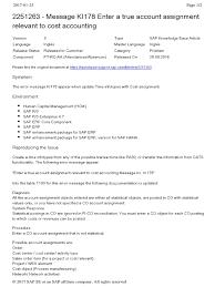 sapnote 2251263 message ki178 enter a true account assignment