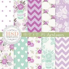 Shabby Chic Purple by Purple Mint Shabby Chic Digital Paper Floral Digital