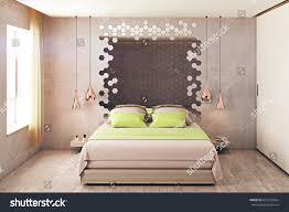 hipster bedroom interior furniture hexagonal mirror stock