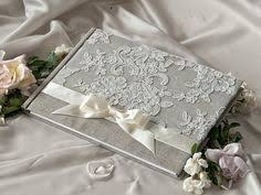 Shabby Chic Wedding Guest Book by Navy And Silver Wedding Guest Book With Swirl Embellishments Made