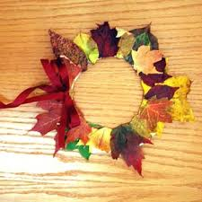 Fun Fall Kids Crafts - fall wreath made from leaves glue and a paper plate easy craft