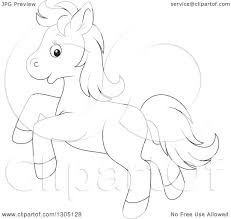 lineart clipart of a cartoon black and white happy horse pony