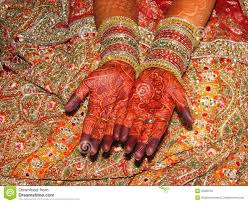 indian bride u0027s beautiful hand with henna tattoo stock image