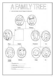 esl kids worksheets a family tree