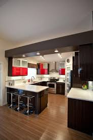 u shaped kitchen for small space with lighting