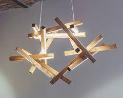 Wooden Chandelier Modern Wooden Chandelier Etsy