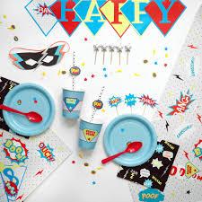 vaisselle jetable fete kit anniversaire super héros comics enfant garcon sweet party day