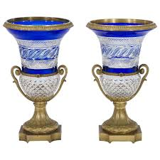 Cobalt Blue Crystal Vase Pair Of Russian Cobalt Overlay Cut To Clear Crystal Vases With