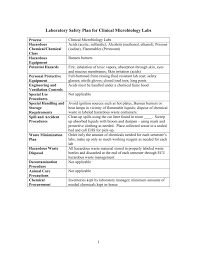 clinical chemistry laboratory safety plan cover sheet