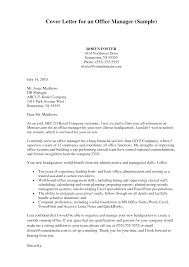 cover letter office manager cover letter examples front office