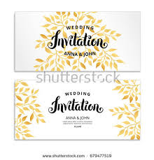 invitation greeting gold leaf invitation golden leaf frame stock vector 679477519