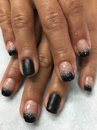 black and silver glitter ombré gradient french gel nails with