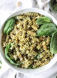 pasta salad pesto pistachio basil pesto pasta salad with burrata