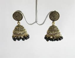gold jhumka earrings antique gold jhumka with black indian jhumka