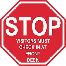 check in desk sign graphical warehouse stop visitors must check in at front desk floor