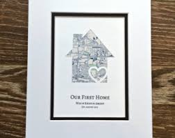 New House Gift Personalized Home Map Matted Gift First Home Gift New House
