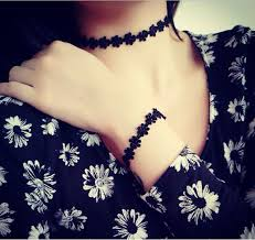 tattoo choker necklace aliexpress images 1pc korean charms sweet trendy colar black lace daisy tattoo jpg