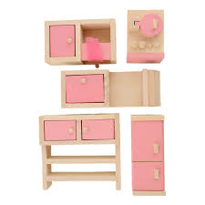 dollhouse furniture kitchen shop 5pcs set novelty pink wooden dollhouse furniture