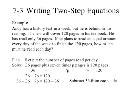 resume number of pages writing two step equations