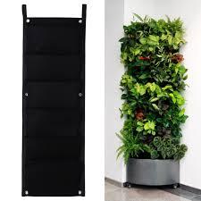 6 pockets flower pots vertical planter on wall hanging felt