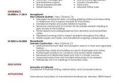 Receptionist Resumes Samples by Receptionist Resume Haadyaooverbayresort Com