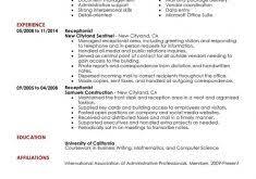 Receptionist Resumes Samples receptionist resume haadyaooverbayresort com