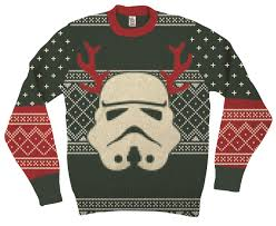 christmas sweater wars stormtrooper with reindeer antlers green