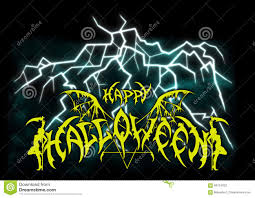 halloween background silhouettes background with a lightning and happy halloween emblem in metal