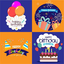 birthday card templates isolated with various styles free vector