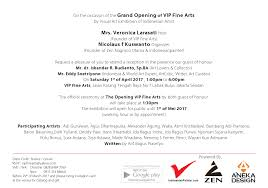 Invitation Card For Grand Opening Grand Opening Of Vip Fine Arts Indonesian Painter