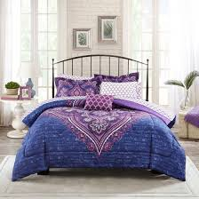 Cheap Purple Bedding Sets Mainstays Grace Medallion Purple Bed In A Bag Complete Bedding Set