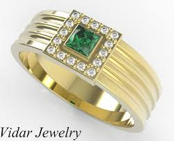 men gold ring men s princess cut emerald wedding band vidar jewelry unique