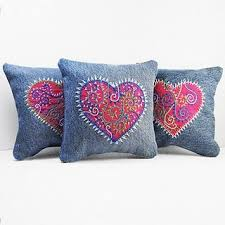 Upcycled Pillows - upcycled jeans into pillows with embroidered hearts polster