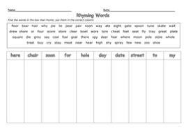 rhyming words sorting tricky words by barang teaching