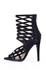 indigo footwear zita caged sandals in black suede iclothing