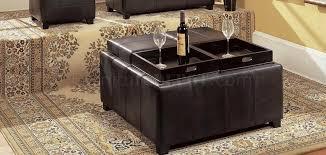 Modern Storage Ottoman Espresso Bycast Leather Modern Storage Ottoman W Trays