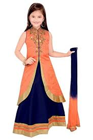 ethnical kids girls u0027 indian ethnic wear dupion and netted fabric