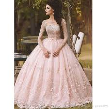 2017 blush pink long sleeves prom dresses 3d floral floor length