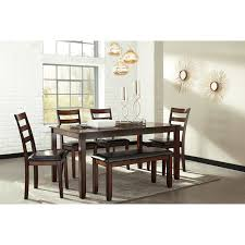 dining room table and bench burnished brown 6 piece dining table set with bench by signature