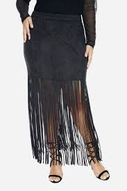 maxi size plus size besa faux suede fringe maxi skirt fashion to figure