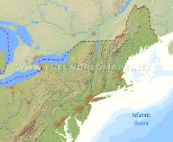 Map Of The United States East Coast by Northeastern Us Physical Map