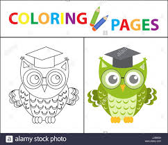 coloring book page wise owl wearing glasses sketch outline and